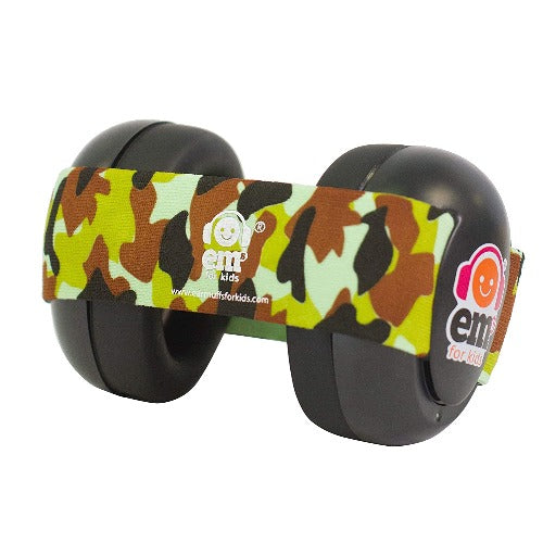 Ems For Kids Black Baby Earmuff and Camo Headband