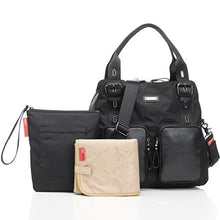 Load image into Gallery viewer, Storksak Black Alexa Luxe Leather Shoulder Diaper Bag