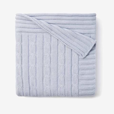 Elegant Baby Cable Knit Star Blankie, Blue
