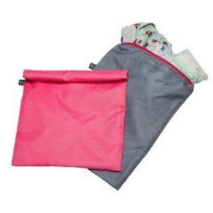 JL Childress Grey/Pink Wet-to-Go Wet Bags 2pk