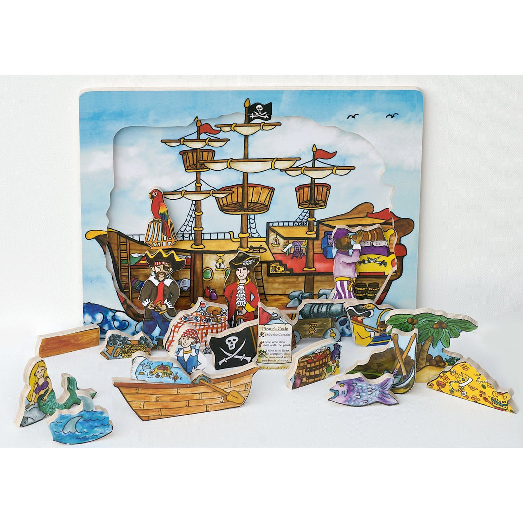 Flipzles Pirate Ship Puzzle and Play Set