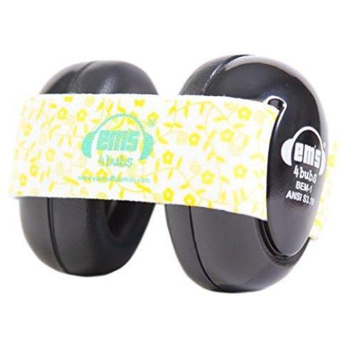BLACK Baby Earmuff and Lemon Floral Headband