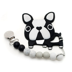 LouLou Lollipop Boston Terrier Silicone Teether and Holder Set