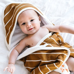 Copper Pearl Premium Knit Hooded Bath Towel, Camel Stripe