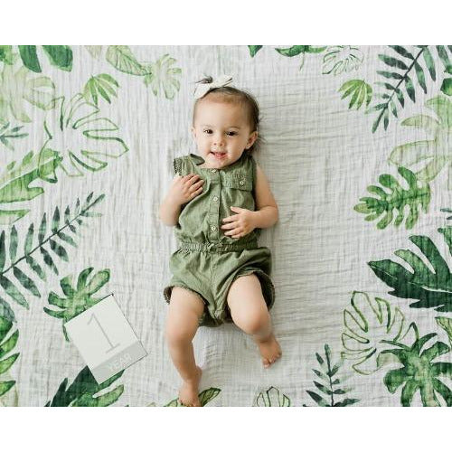 Little Unicorn  Photo Blanket, Tropical Leaf