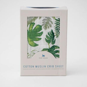 Little Unicorn Cotton Muslin Crib Sheet, Tropical Leaf