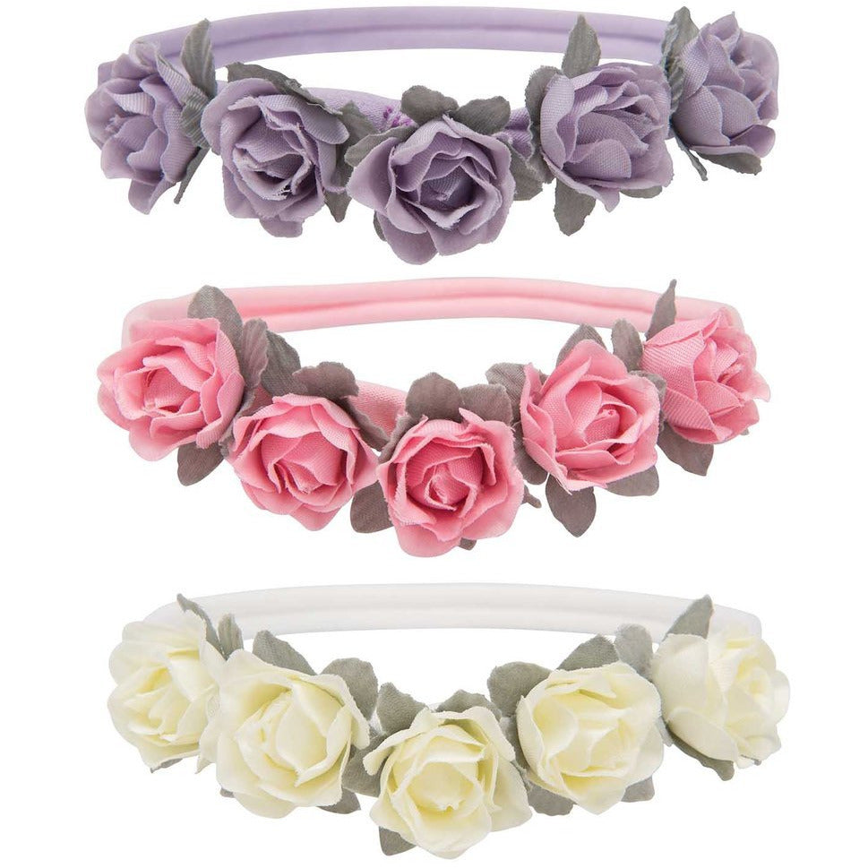 Elegant Baby Flowers Headbands, 3 Pack