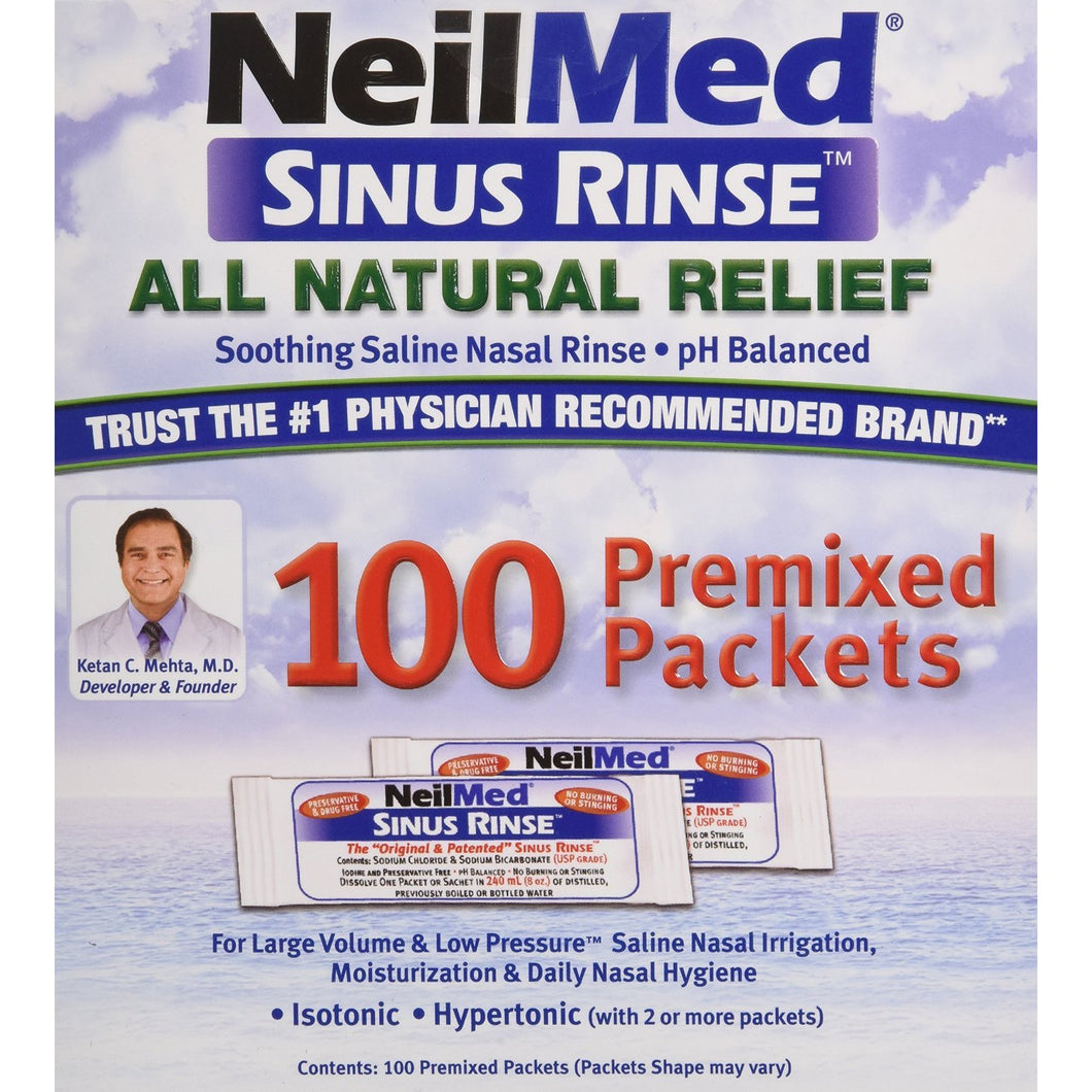 NeilMed Sinus Rinse Premixed Packets - 100 Regular Packets