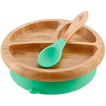 Bamboo Stay Put Suction Baby Plate with Spoon, Green