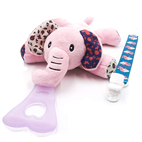 Pink Elephant 4 in 1 Pacifier Holder