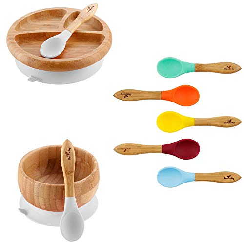 White Bamboo Baby Bowl + White Bamboo Baby Plate + Spoon Set (no Pink)