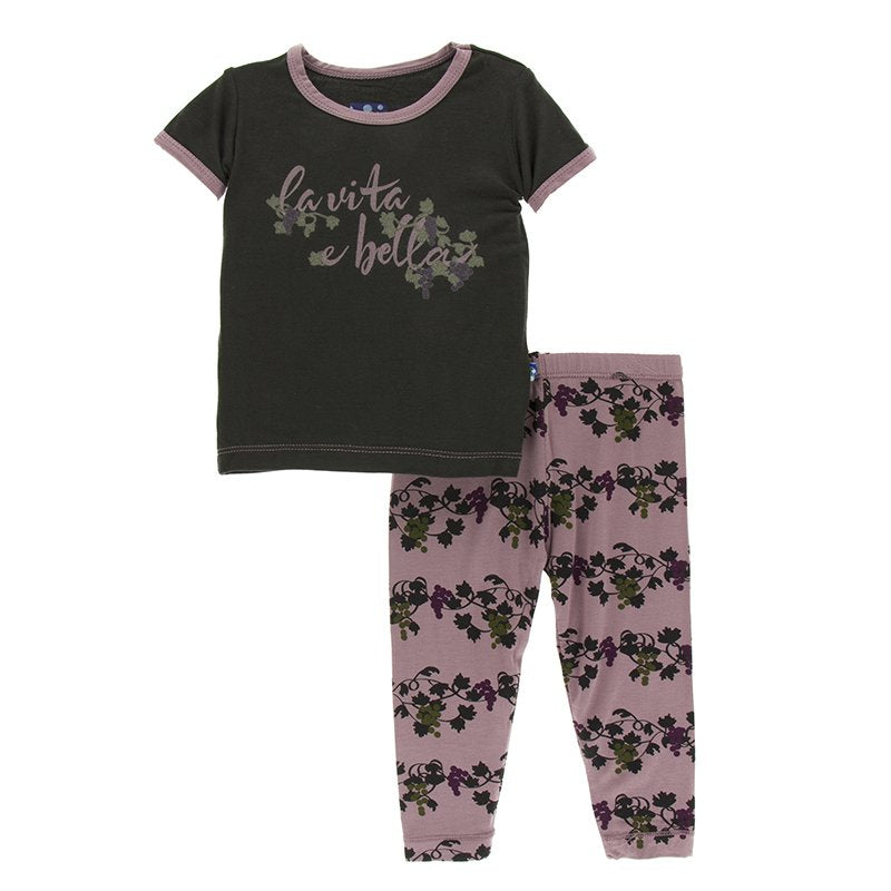 Print Short Sleeve Pajama Set (Raisin Grapes Vines- 4T)