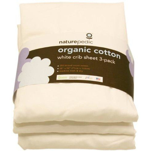 Naturepedic Organic Cotton Sateen Fitted 3 Pack Crib Sheets - White