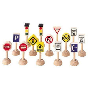 PlanToys Set of Traffic Signs and Lights USA