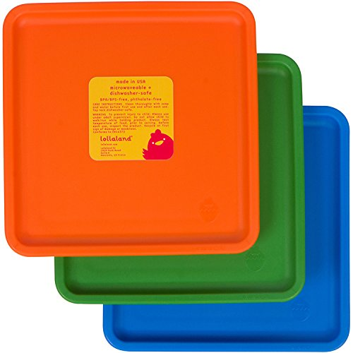 Lollaland Toddler Plates | BPA Free Kids Plates Set | Baby Kid Toddler Dishes | Lollacup Shark Tank Products: 3 Pack Mealtime Set for Kids | Colorful Square Plate Sets Dish Sets