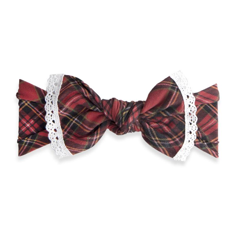 Baby Bling Bow Trimmed Printed Knot, Red Tartan
