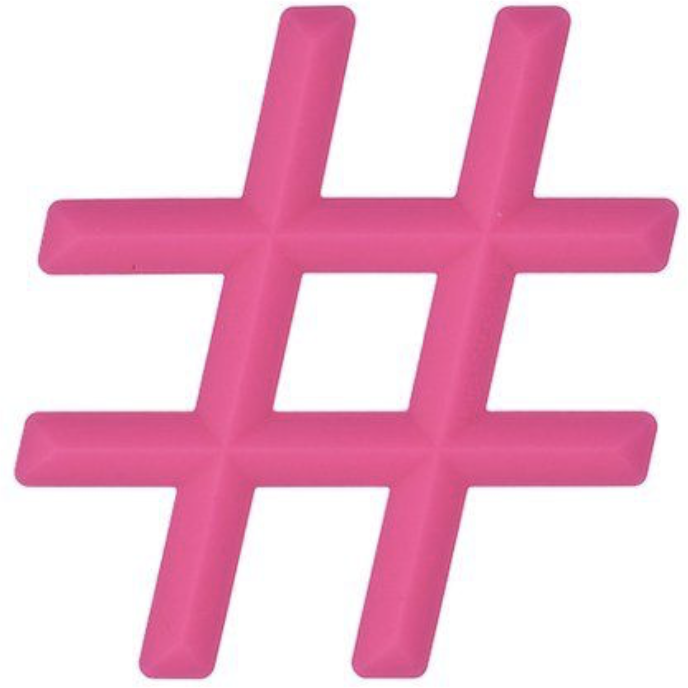 Pink Hashtag Silicone Teether Little Standout