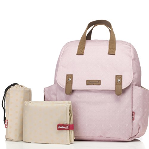 Babymel Robyn Convertible Backpack Diaper Bag, Dusty Pink Origami Heart, One size