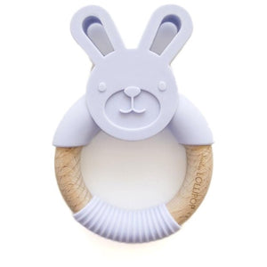 Loulou Lollipop Lilac Bunny Silicone and Wood Teether