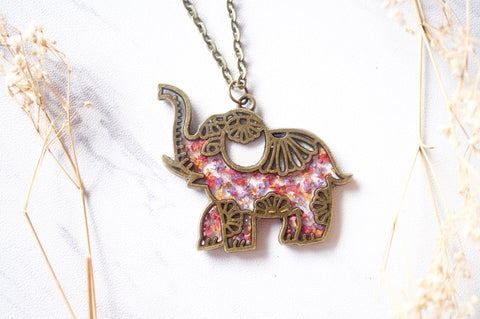 Tribal Elephant Necklace in Pink Purple Orange