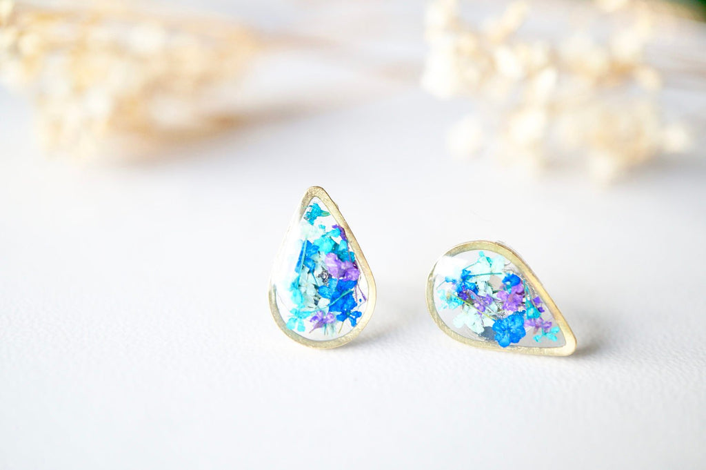 Stud Earrings, Gold Teardrop in Mint Teal Purple Blue