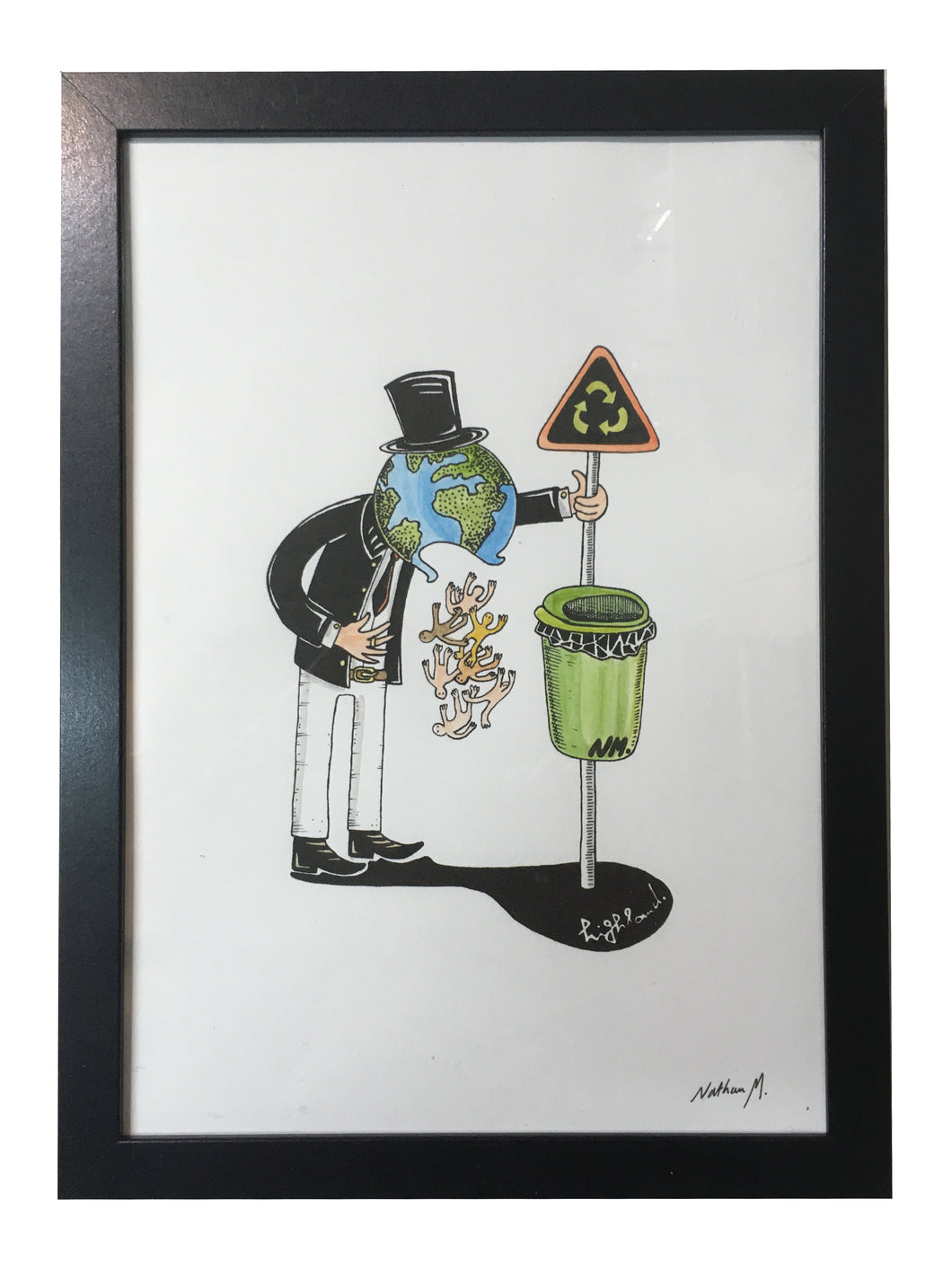Highland Original Handcoloured Print - Planet Earth
