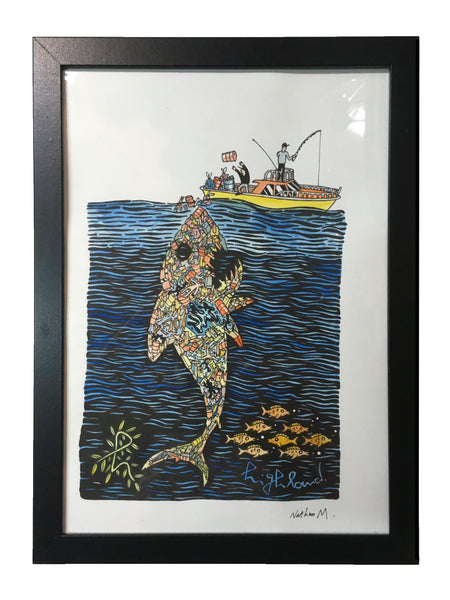Highland Original Handcoloured Print - Trash Shark