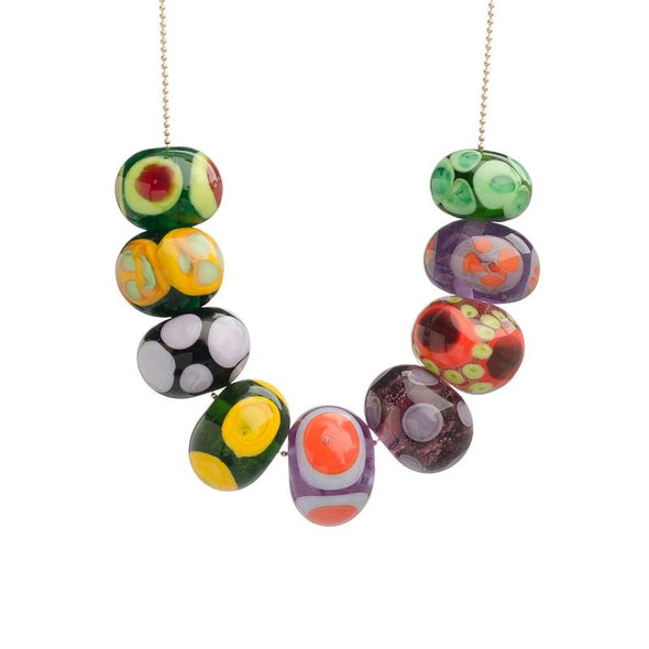 Colorful Polka Dot Glass Beads Necklace