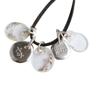 Meaningful Silver Flat Glass Beads Kabbalah Necklace