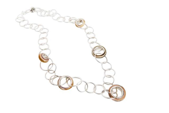 Silver and Glass Rings Necklace