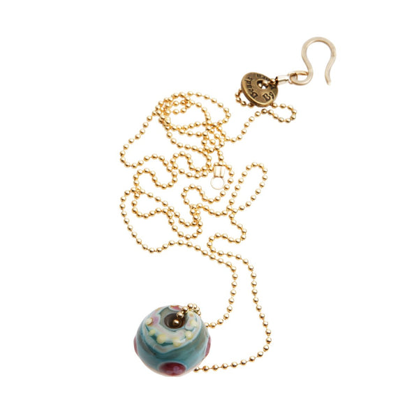 Single Floral Glass Bead Necklace on Gold-filled Chain