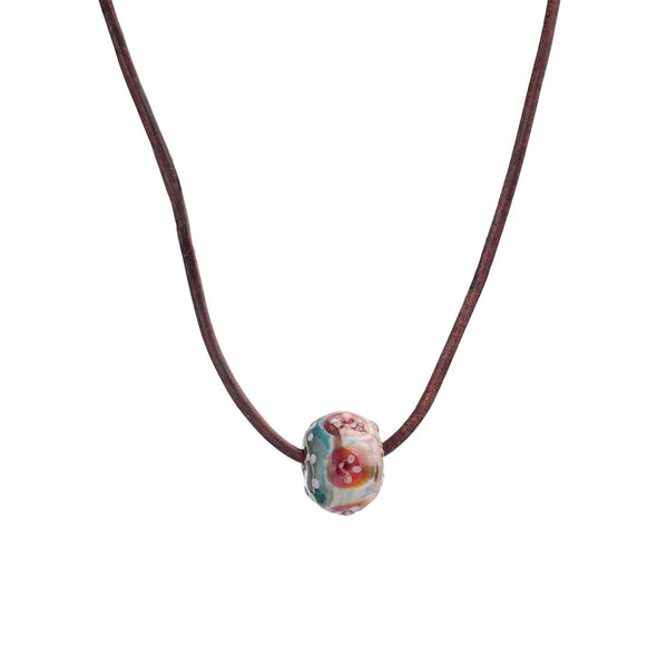 Single Floral Glass Bead Necklace on Leather Cord