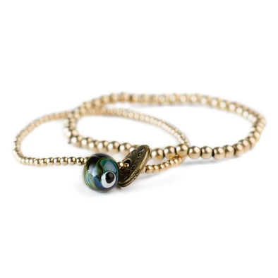 Set of 2 Evil Eye Glass Bead Gold-Filled Friendship Bracelet