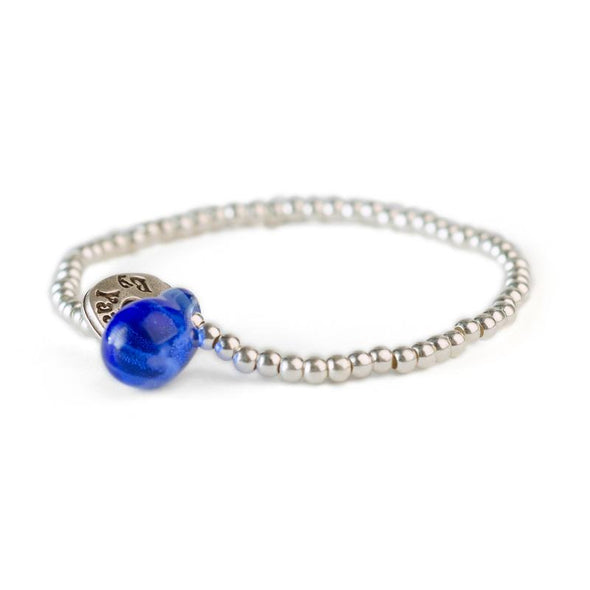 Silver Friendship Bracelet with a Glass Bead
