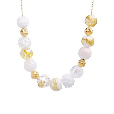 White and Gold Glass Bead Statement Necklace