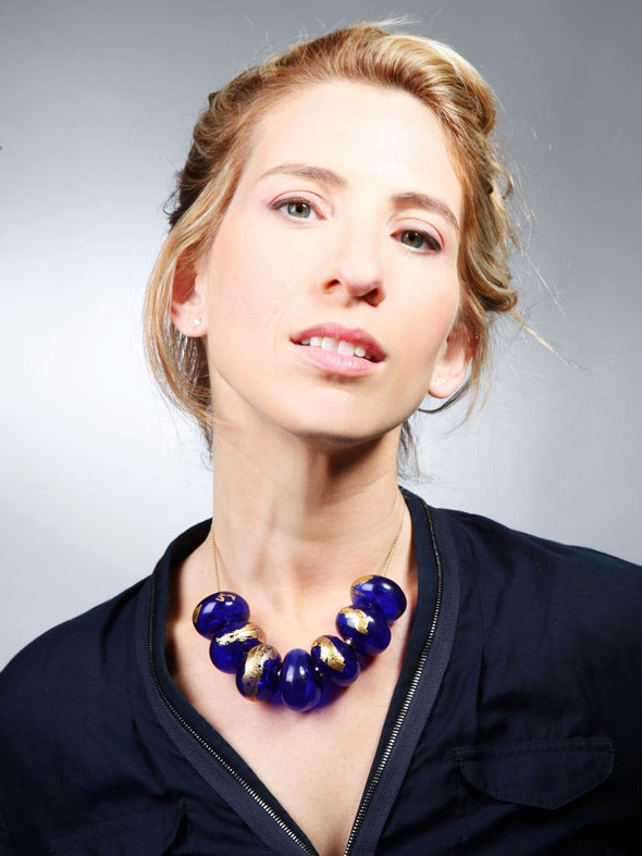 Oversized Glass Beads with Gold Leaf Statement Necklace
