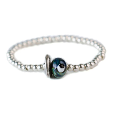 Evil Eye Glass Bead Silver Friendship Bracelet