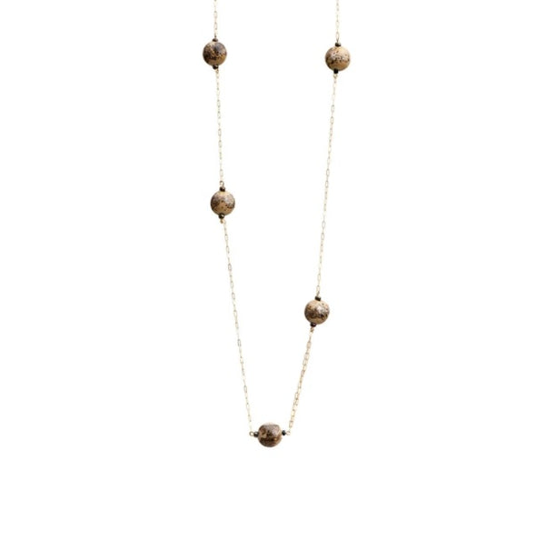 Elegant Sphere Glass Beads Station Necklace