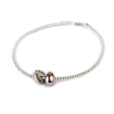 Silver Ankle Bracelet with a Glass Bead