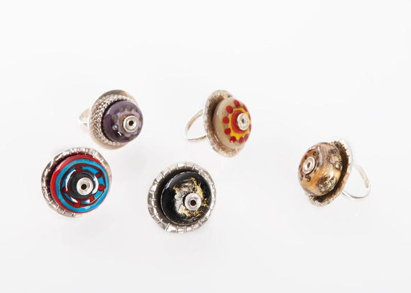 Handmade Bohemian Evil Eye Silver Rings with bead for Women