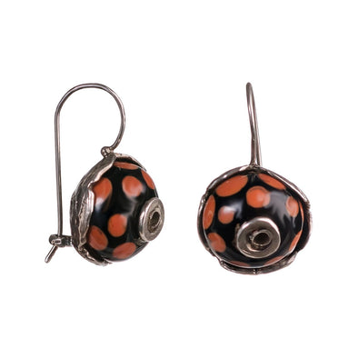 round glass earrings with beads