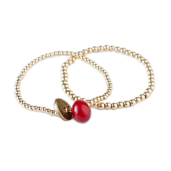 Set of 2 Gold-Filled Friendship Bracelets with a Glass Bead