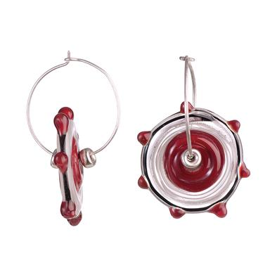 dotted red disk earrings with beads