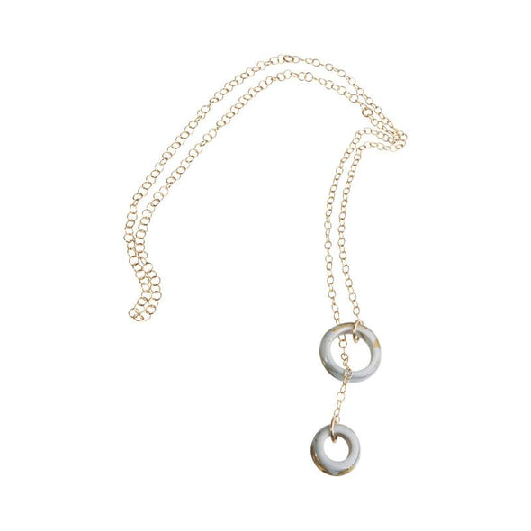 Glass Rings Lariat Necklace