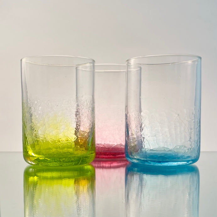 Faded Crackle Tumblers-Handblown Glass