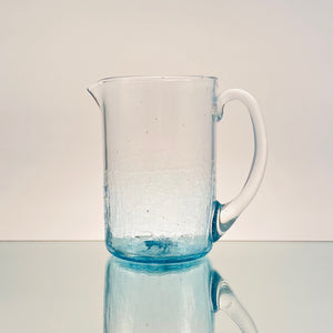 Faded Crackle Pitcher-Handblown Glass