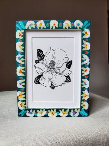 Original Framed Pen & Ink Magnolia