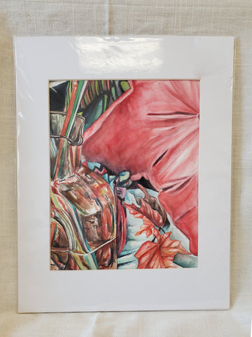 Original Matted 11x14 Watercolor Still Life