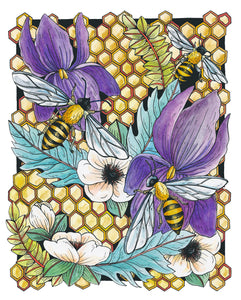 Bees and Wildflowers 8x10 Art Print