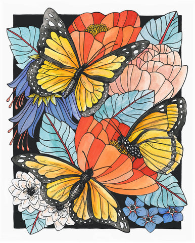 Butterflies and Botany 8x10 Art Print